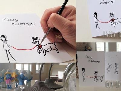 DIY Drawing on a blank card: Christmas Card