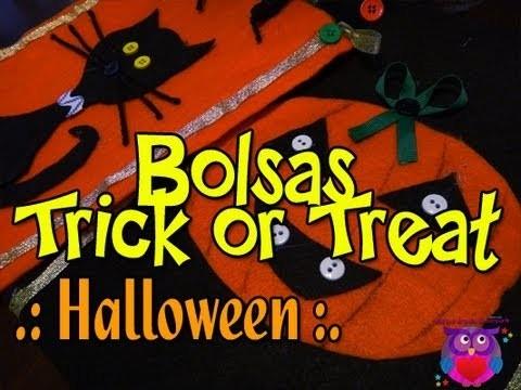 (DIY) Halloween Como Hacer Bolsas (sin coser)  Trick or Treat. How To