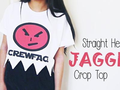 DIY ✂ Jagged Hem Crop Top (T-Shirt Reconstruction)