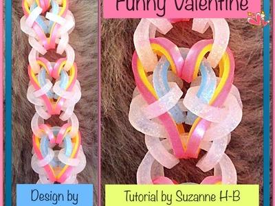 Funny Valentine bracelet tutorial (hook only) rainbow loom bands