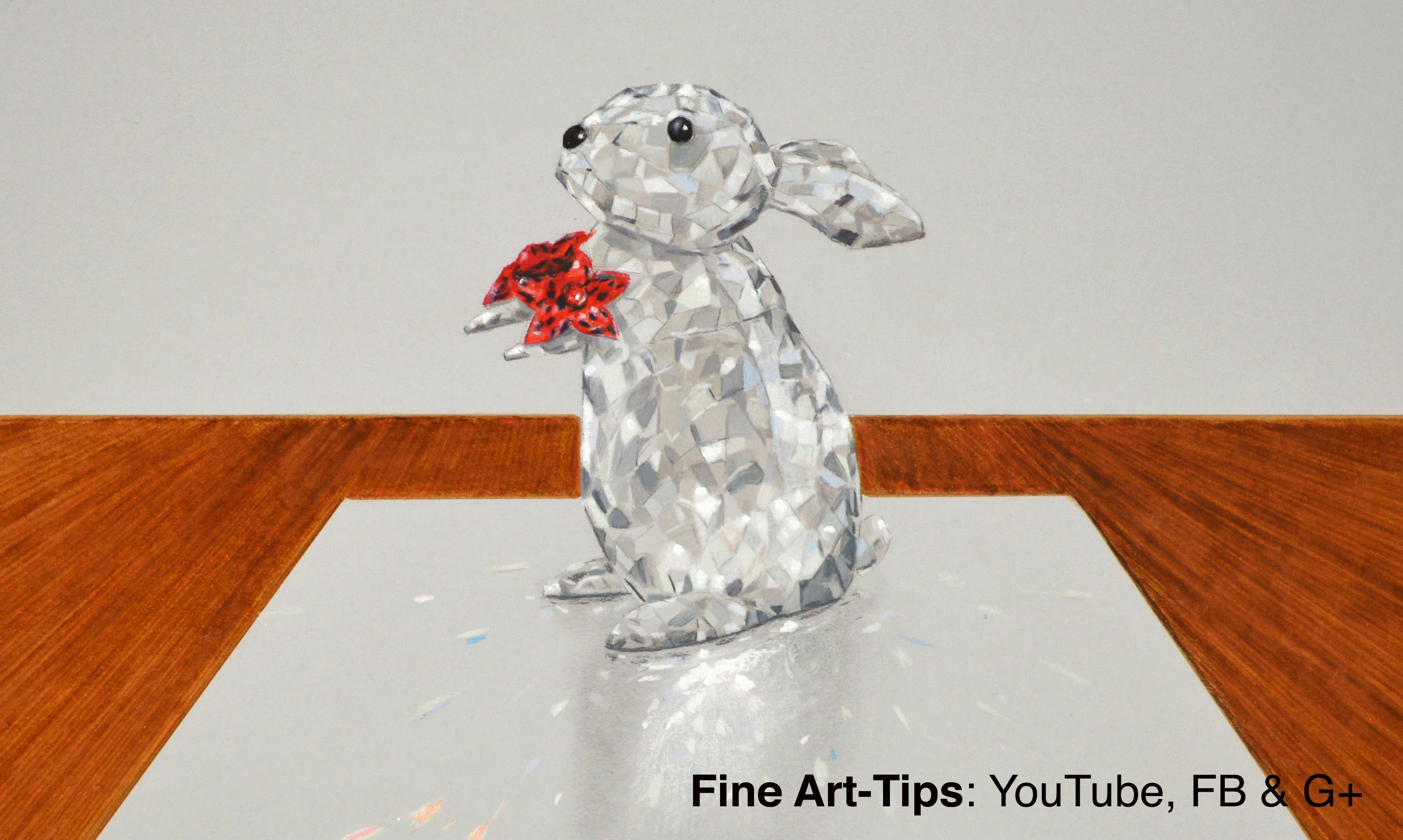 How to Draw a Crystal Rabbit, Swarovski Style - With a 3D Effect