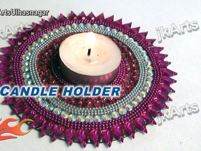 How To: make Candle Holder with mirror and rhinstone - JK Arts  532