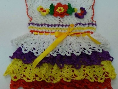 HOW TO MAKE CROCHET BABY DRESS WITH LACY SLEEVE-(PART-5)