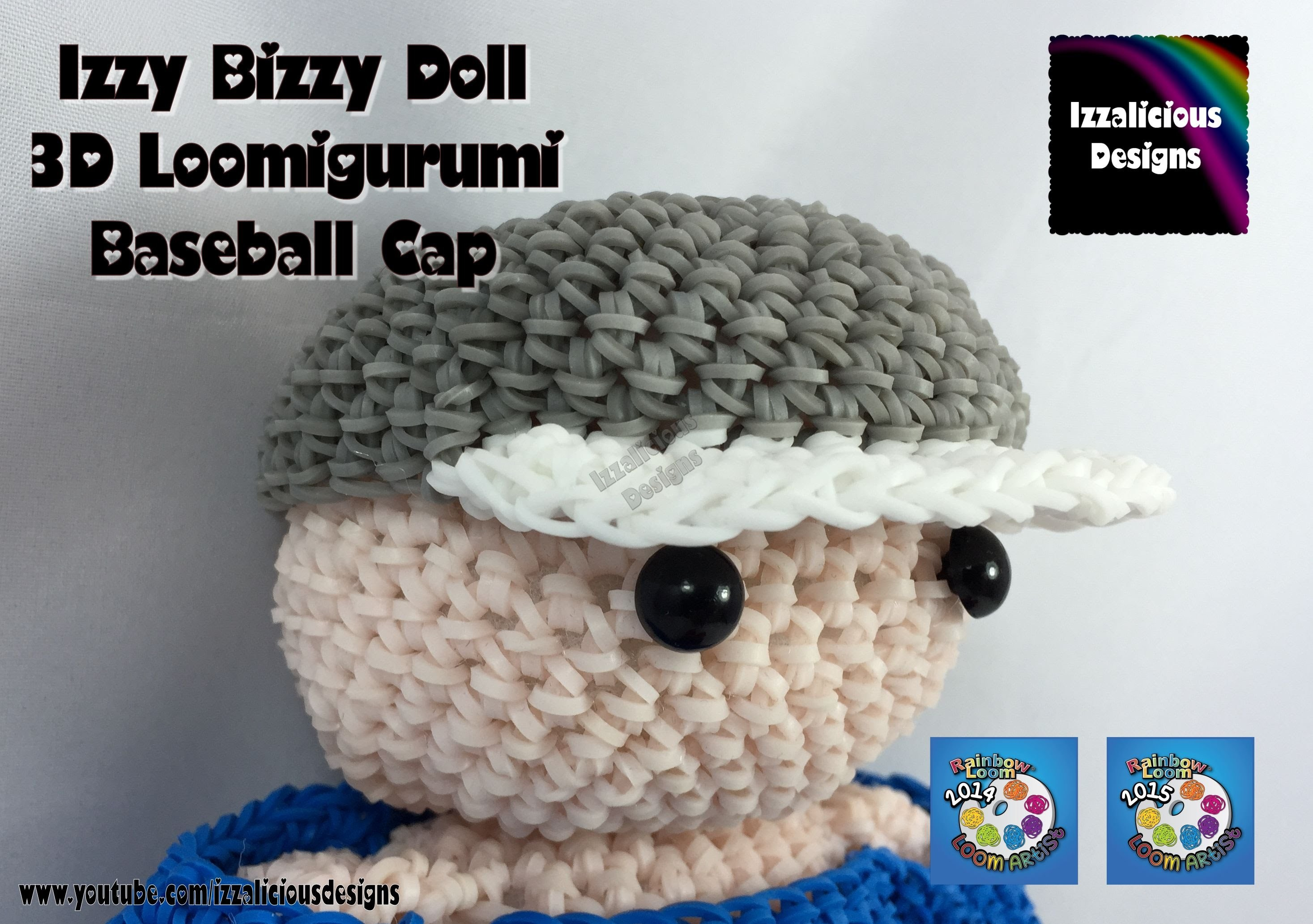 Loomigurumi Izzy Bizzy Doll - Baseball Cap - hook only - amigurumi with Rainbow Loom Bands