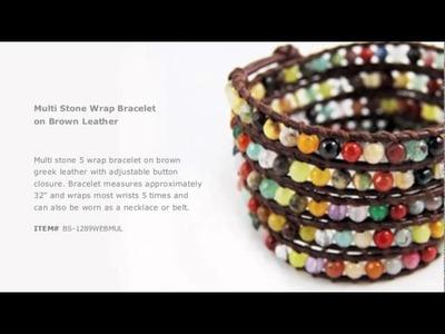 Multi Stone Wrap Bracelet on Brown Leather - Chan Luu