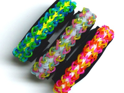 """Rainbow Loom Bracelet - Original Design - """"LOOPTY LOO"""" (4qq) REVERSIBLE!!!"""
