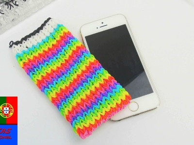 Rainbow Loom capa de celular iPhone no tear Rainbow Loom. iPhone Loom Bands Case Tutorial