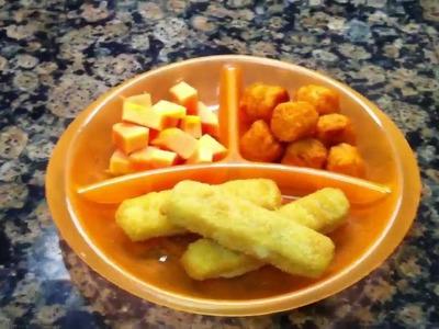 Toddler Meal Idea: Fish Sticks with Sweet Potato Tots and Papaya