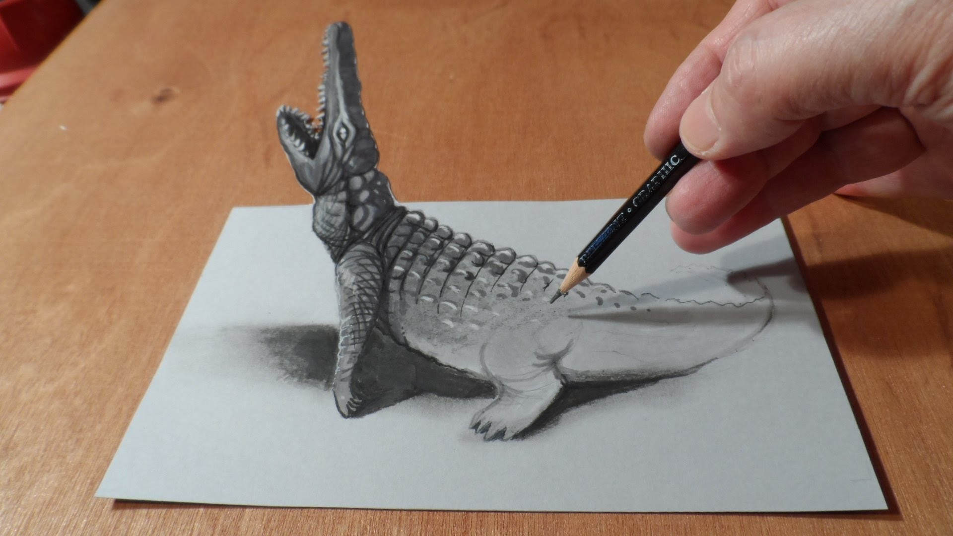 Trick Art, Drawing 3D Crocodile