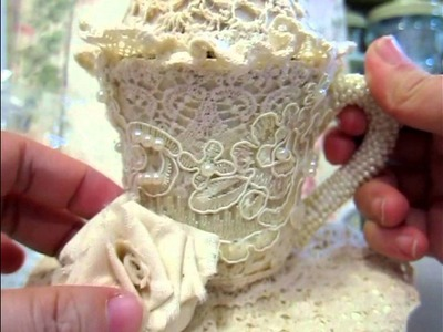Altered Teapot ,teacup and muslin rose tutorial