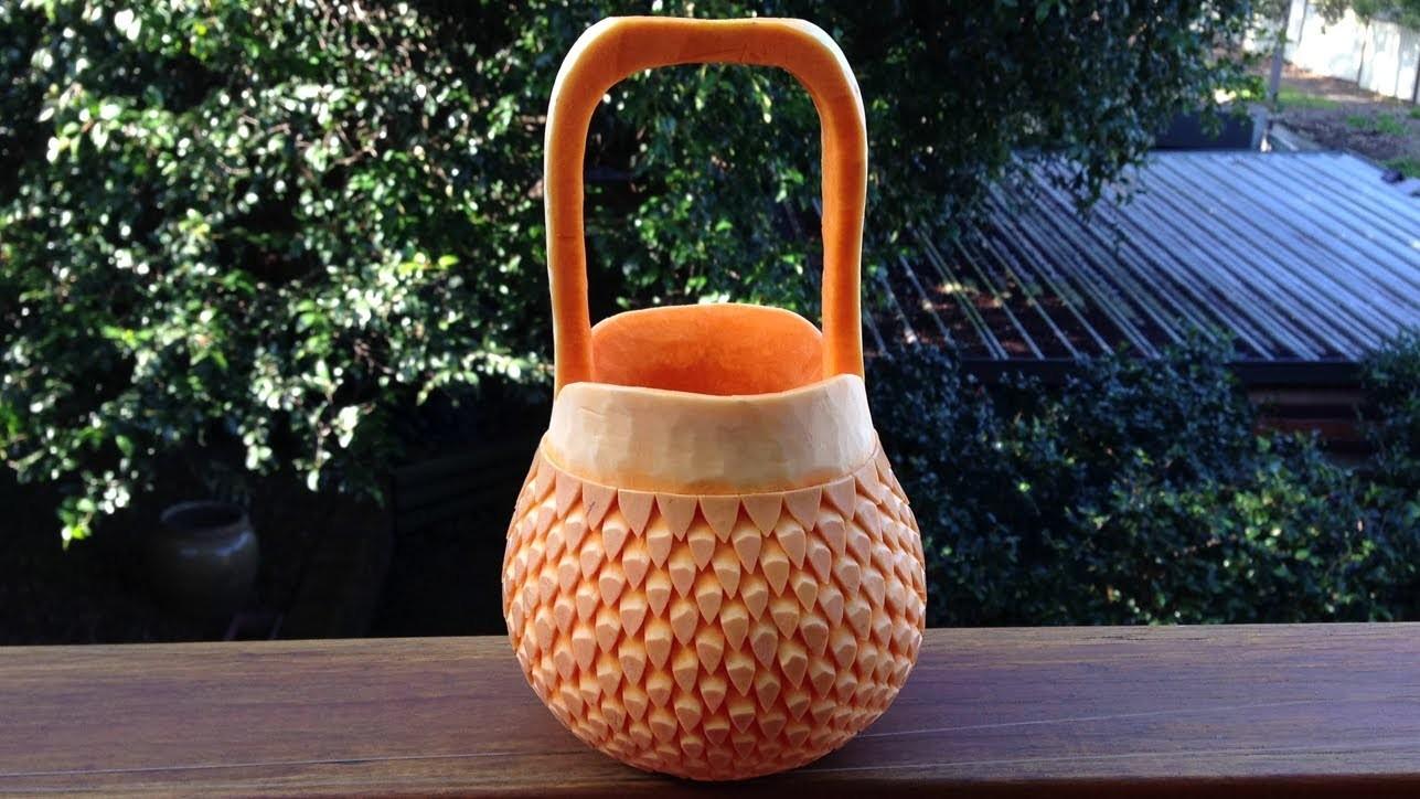 Beautiful Handbag Basket Pumpkin - Int Lesson 7 By Mutita The Art Of Fruit And Vegetable Carving