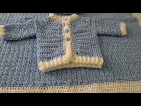 Crochet baby boy blanket, pillow, sweater and hat