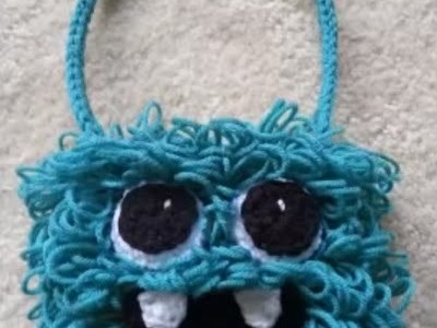 #Crochet Kids Silly Hairy Monster Bag Purse #TUTORIAL