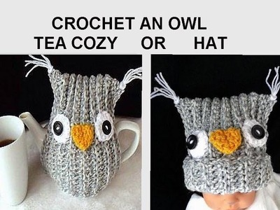 CROCHET pattern,  OWL TEA COZY, or Owl Hat, use any yarn, any hook.