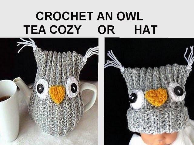 CROCHET pattern,  OWL TEA COZY, or Owl Hat, use any yarn, any hook.