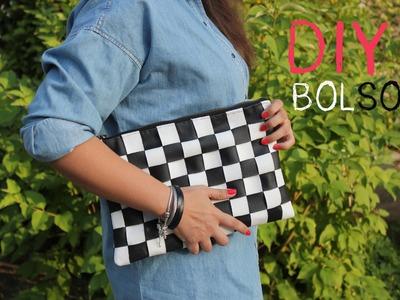 DIY Bolso de cuero damero. DIY black and white leather bag