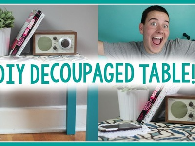 DIY Decoupaged End Table | DORM DECOR IDEA!
