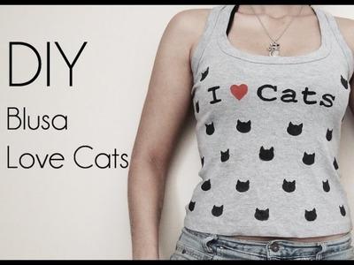 ♥ DIY: Pintando uma T-shirt I Love Cats ♥ (Blusa Eu Amo Gatos)