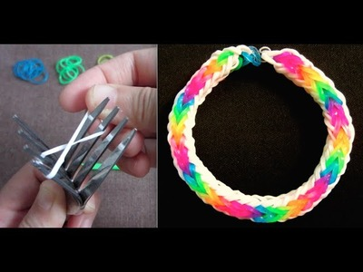 Double Cross Fishtail Rainbow Loom Bracelet without Loom. on 2 Forks