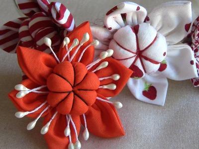 Flor em tecido com miolo acochoado-HOW TO MAKE ROLLED RIBBON ROSES- fabric flowers