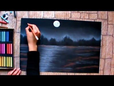 How to draw a night winterscape with pastels, speed drawing by Thundy