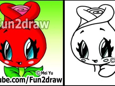 How to Draw a Rose (Cute Easy Kawaii Drawings)