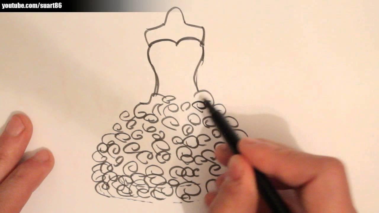 How to draw a wedding dress