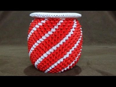 How To Make a 3D Origami Red & White Spiral Vase