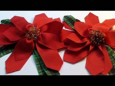 How To Make a Christmas Poinsettia Ribbon Flower