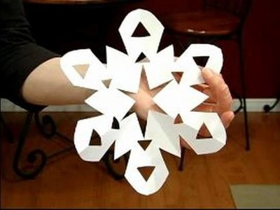 How to Make Paper Snowflakes : Open Cut Angled Center Paper Snowflake Example