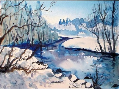 Icy stream winter landscape in blue
