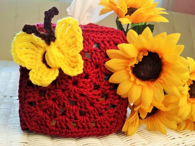 **Left Hand** Glama's Granny Square Tissue Box Holder