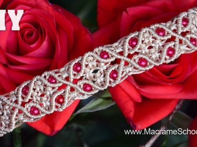 Macrame Bracelet with Floral Motif and Beads