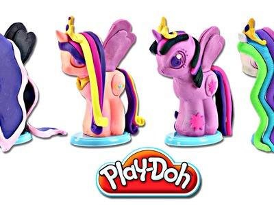 Play doh MY LITTLE PONY Make N' Style Ponies #3 | Princess Celestia, Luna, Twilight Sparkle, Cadance