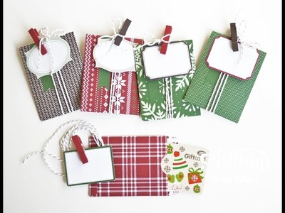 Quick Christmas gift card or money holder using Stampin' Up tag a bag