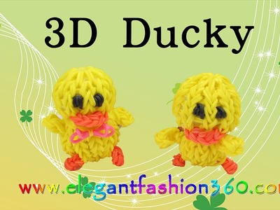 Rainbow Loom 3D Duck.Ducky.Chick charms - How to Loom Bands tutorial by Elegant Fashion 360