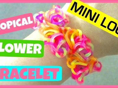 Rainbow Loom Bracelet Tropical Flowers on Mini Loom - Half Flower Burst Variation