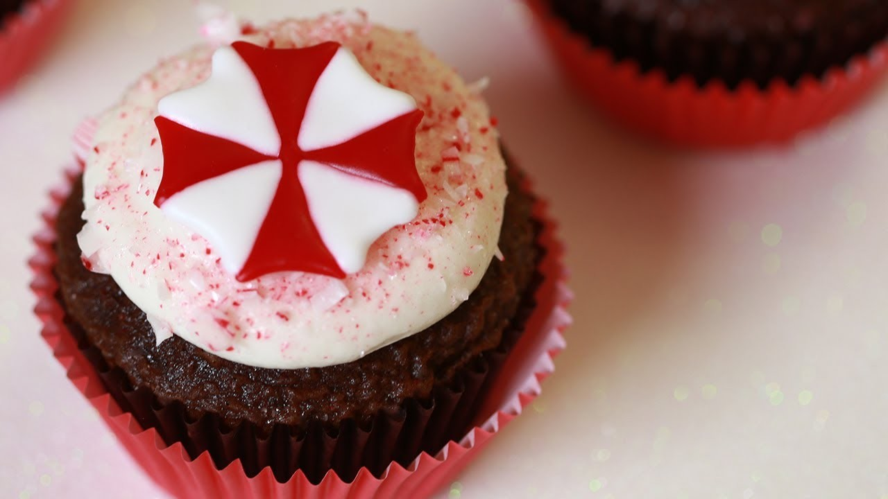 RESIDENT EVIL CHOCOLATE PEPPERMINT CUPCAKES - NERDY NUMMIES