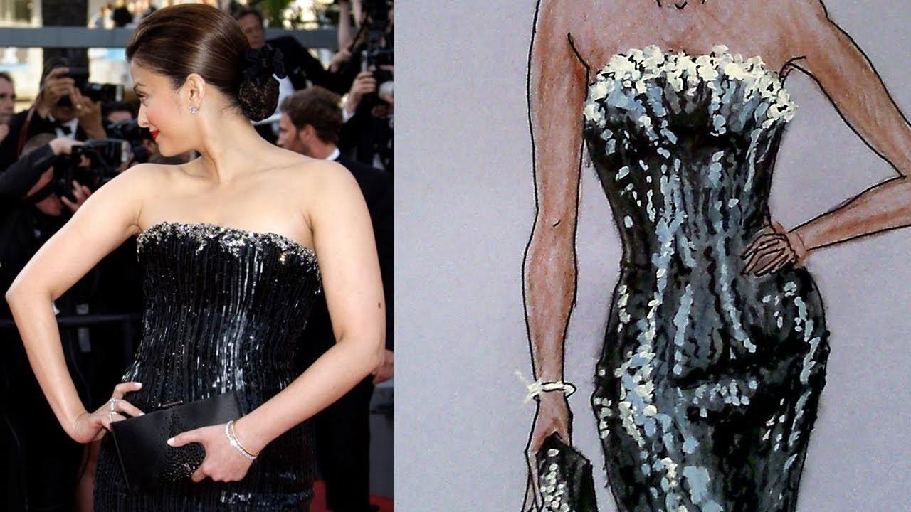 Aishwarya Rai's Armani Dress Tutorial: Fashion Design Drawing Lesson