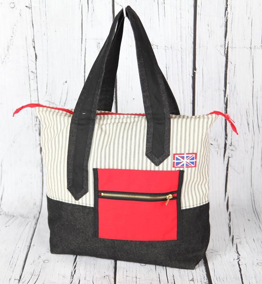 Britannia 2 - Hand bag.zip closure, mitred handles. DIY Bag Vol 15B