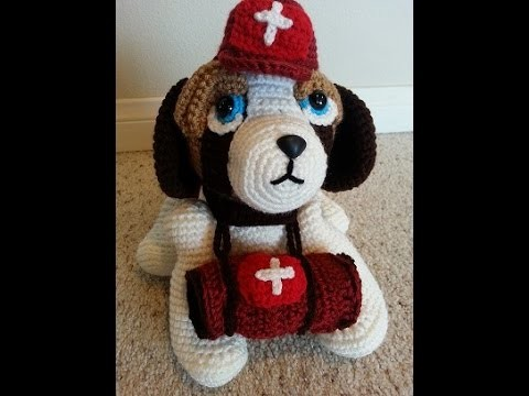 Crochet Saint Bernard Amigurumi Medical Rescue Dog Part 1 of 2 DIY Tutorial