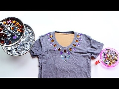 DIY Fashion | Jeweled Tee Shirt Collar