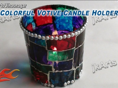 DIY How to make Colorful Votive Candle Holder JK Arts 418