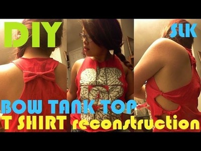DIY T SHIRT RECONSTRUCTION | BOW TANK TOP | UPCYCLE | NO SEW