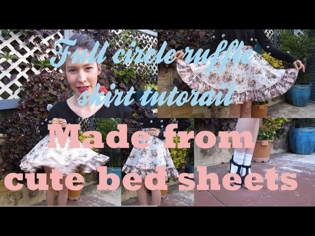 Full circle skirt tutorial from cute bed sheets