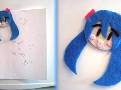 How to Make a Chibi Hatsune Miku Magnet from felt tutorial