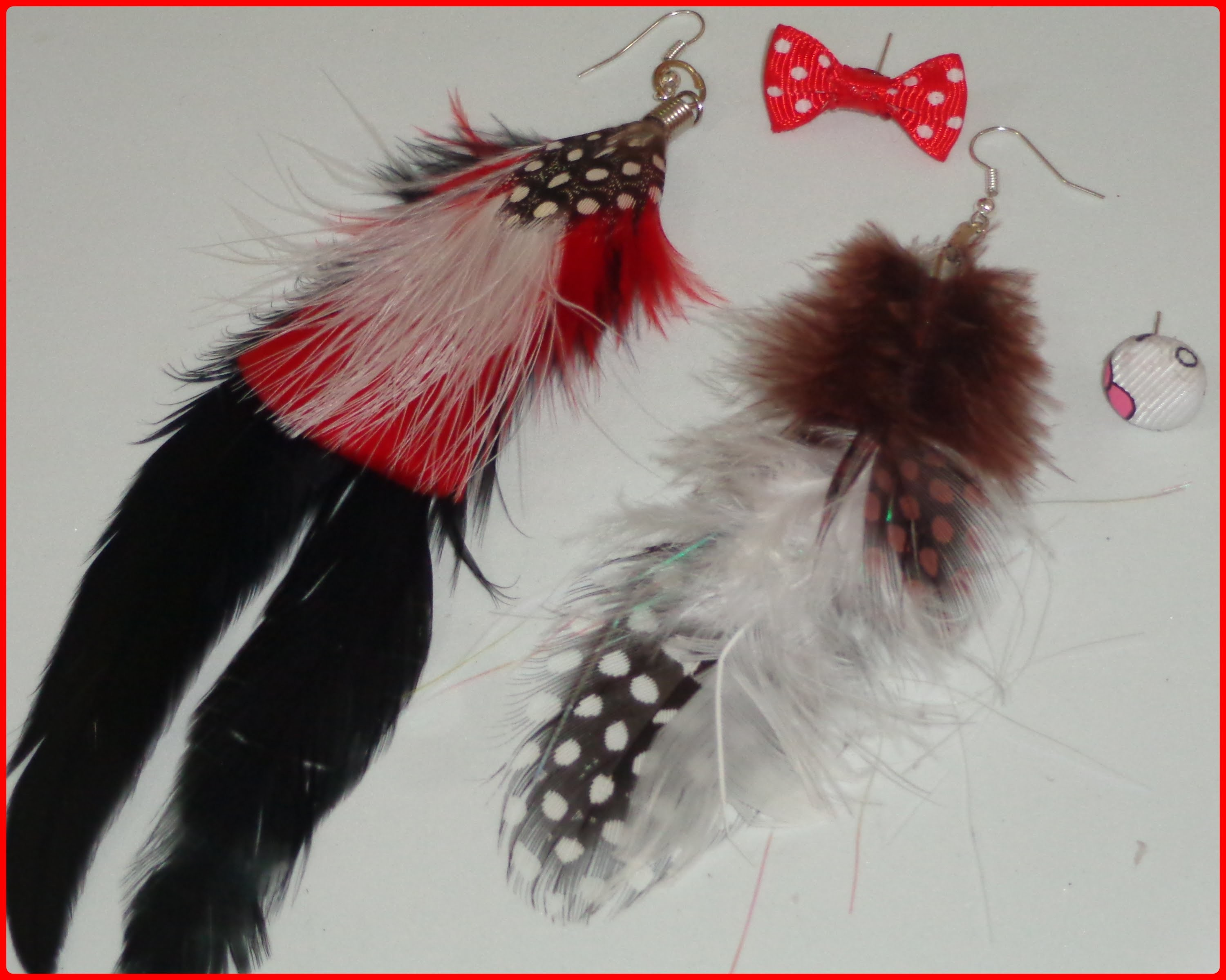 Paso a paso de como hacer aretes con  plumas,step by step how to make feather earrings