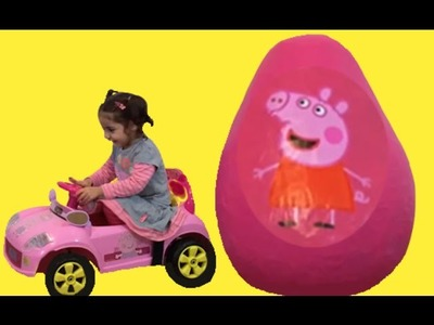 Peppa Pig Giant Egg Surprise - Peppa Pig Toys - Giant Surprise Eggs Unboxing + Kinder Surprise