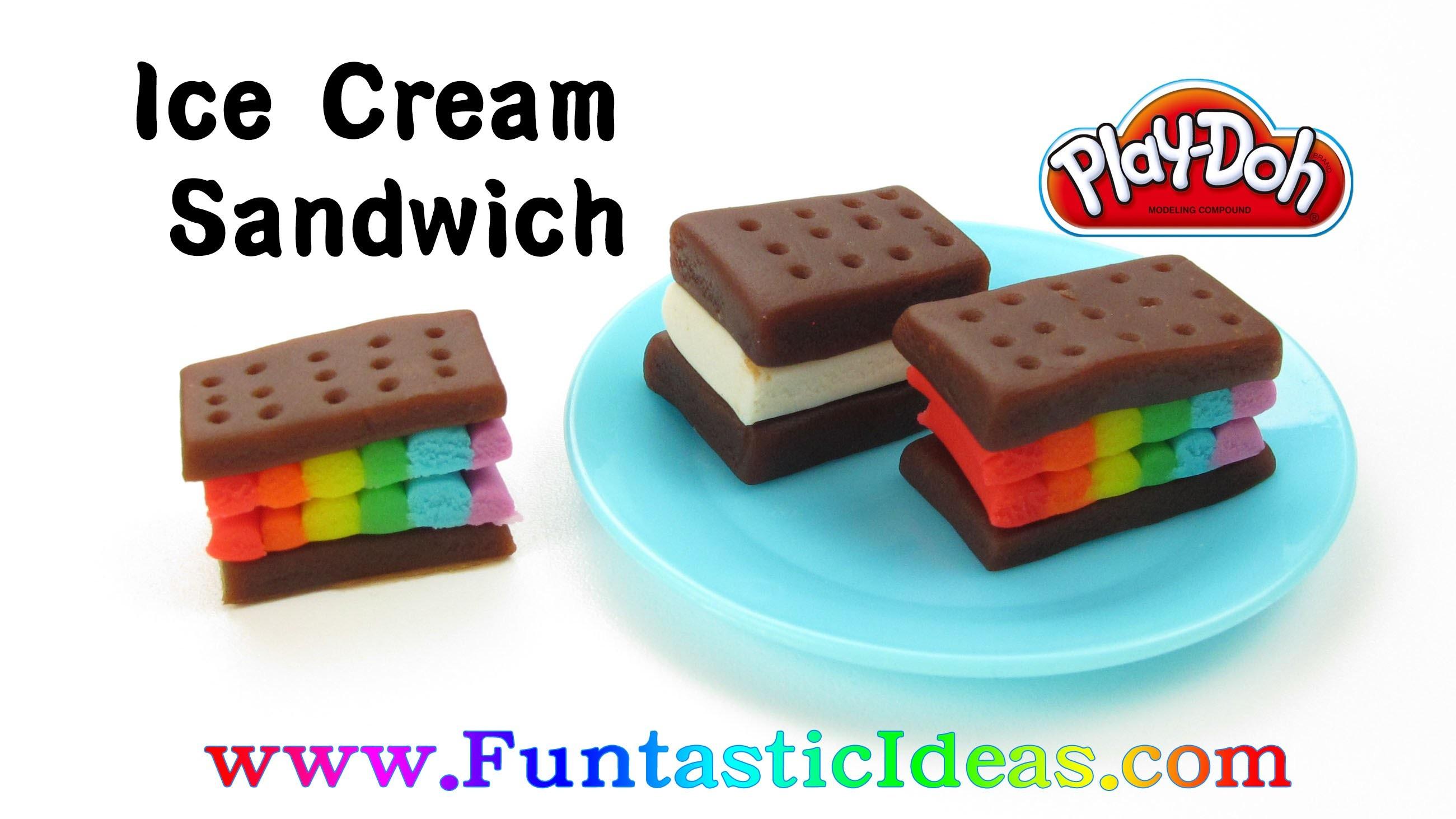Play Doh Rainbow Ice Cream Sandwich - How to with playdough.Easy DIY Kids