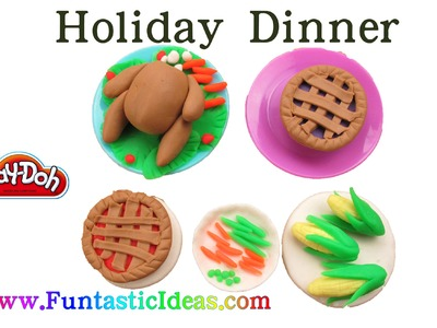 Play Doh Thanksgiving.Holiday Dinner.Turkey.Pie.Corn.Carrot.Green Bean.Pea - How to with playdough